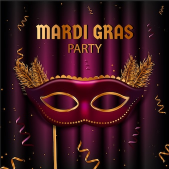 Realistic mardi gras with mask and feathers