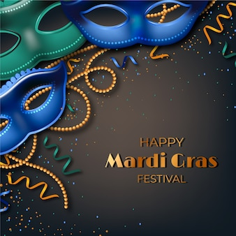Realistic mardi gras with masks and beads