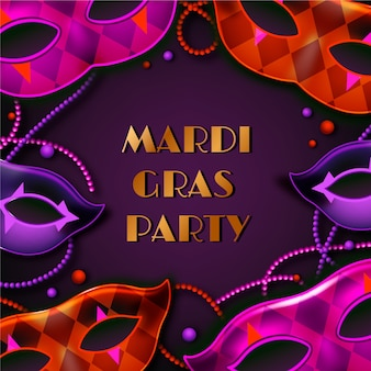 Realistic mardi gras with masks