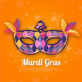 Realistic mardi gras with multicolored mask