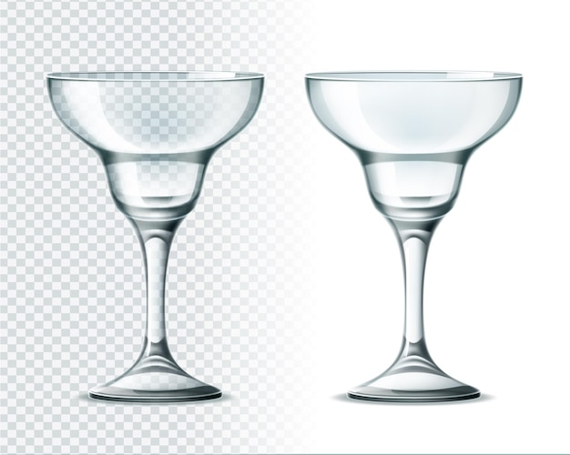 Realistic margarita glass on transparent background. luxury restaurant glassware for alcohol drinks.