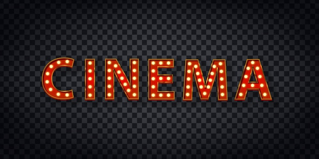 Realistic  marquee sign of cinema logo for template decoration and covering on the transparent background. concept of show and director.