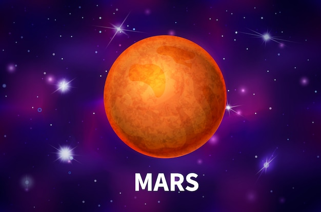 Realistic mars planet on colorful deep space background with bright stars and constellations