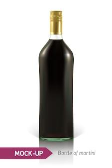 Реалистичная бутылка мартини или другая бутылка вермута
