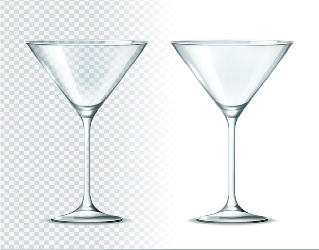 Realistic martini glassware for alcohol drinks