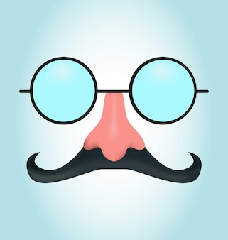 Realistic mask with mustache and glasses