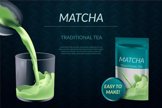 Annuncio realistico del tè di matcha in pacchetto