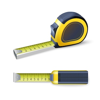 Realistic measurement ruler. isolated icon illustration. measuring tape roulette.