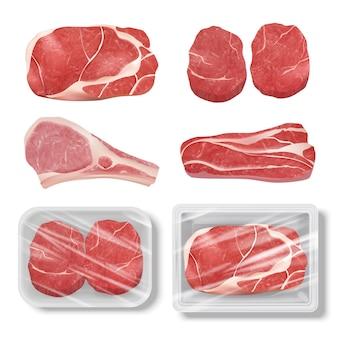 リアルな肉。カウチキンポークステーキグリル食品牛肉生ベクトルイラストセット。ビーフステーキ生、バーベキューベーコンポーク
