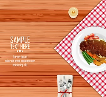 Realistic meat steak with vegetables on wooden table