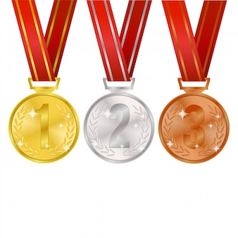 Realistic medal with wreah and ribbon