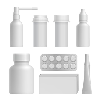 Realistic medical bottle mock up set