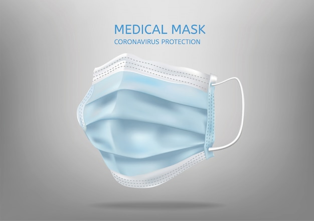 Realistic medical face mask. details 3d medical mask.   illustration