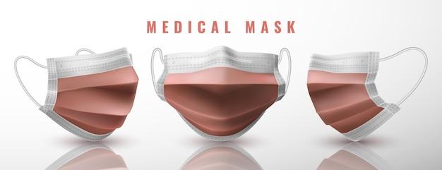 リアルな医療用フェイスマスク。詳細3d医療用マスク。