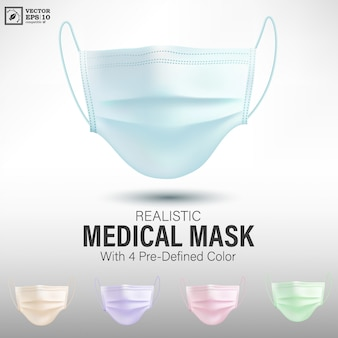 Realistic medical mask with predefined color