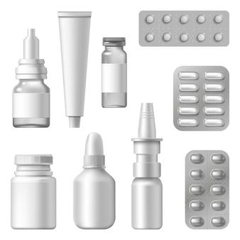 現実的な医療パッケージ。医薬品サプリメント、薬、スプレーボトルの錠剤ブリスター、医薬品包装セット。医療と薬のイラスト