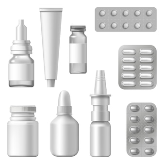 Realistic medical packages. pharmaceutical supplements, drugs, spray bottle pills blister, medication packaging s   set. medical remedy and pharmaceutical medication illustration