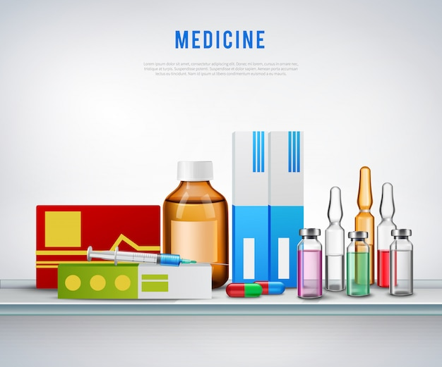 Realistic medication preparations background