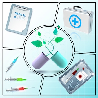 Realistic medicine composition with medical box notepad capsule with plant syringe bloody bandage tourniquet in metal sterilizer isolated