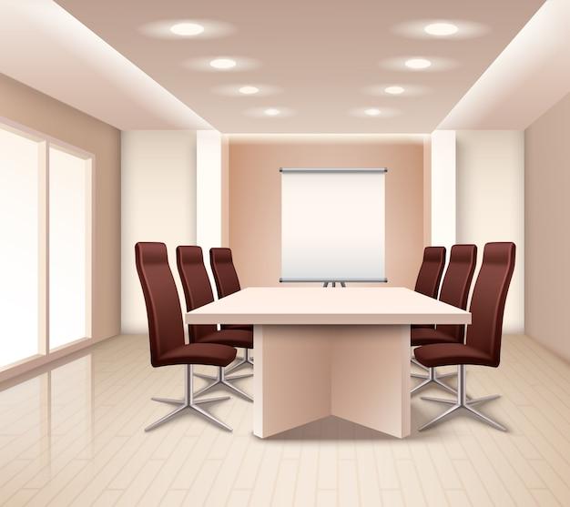 Реалистичный интерьер комнаты для переговоров