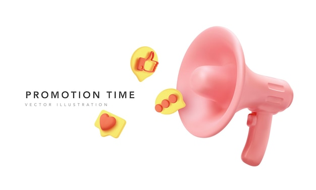 Realistic megaphone with icons flying from it isolated on white background. vector illustration