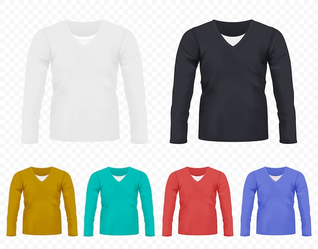 Realistic men t-shirt with long sleeves