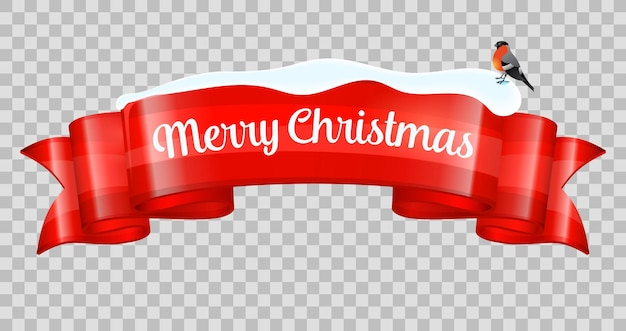 Realistic merry christmas banner. new year ribbon with bullfinch and snowdrift. vector illustration isolated on transparent background