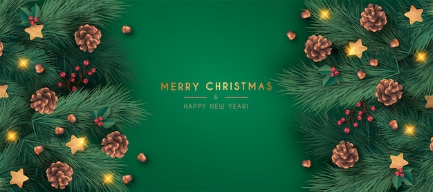 Realistic merry christmas banner template