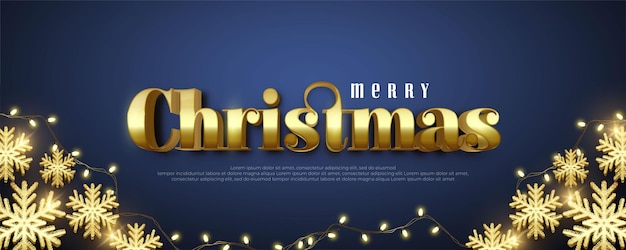Realistic merry christmas editable golden text with decorative lights and balloons