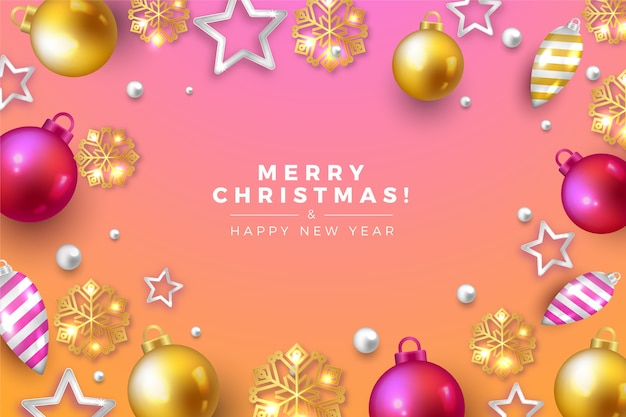 Realistic merry christmas gradient pink tones background
