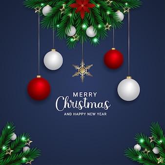현실적인 메리 크리스마스 녹색 잎 흰색과 빨간색 공 크리스마스 조명 황금 별