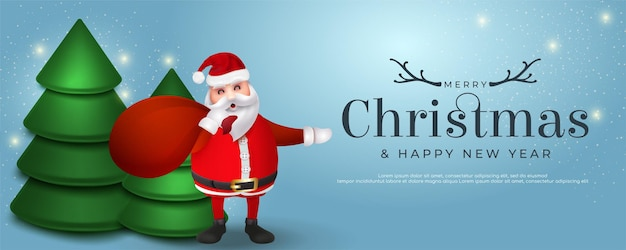 Realistic merry christmas and happy new year sale banner design