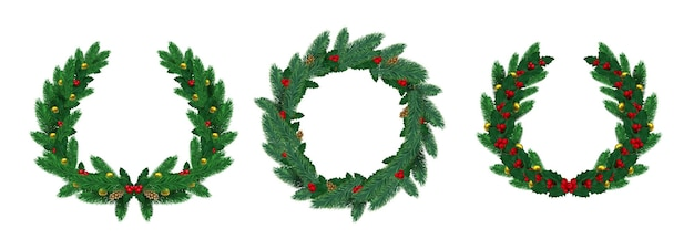 Realistic merry christmas natural wreaths with pine branches. green fir wreath decorated with holly leaves, red berry and balls vector set. celebration wreath realistic with garland illustration
