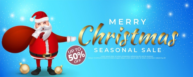 Realistic merry christmas sale banner text calligraphic lettering
