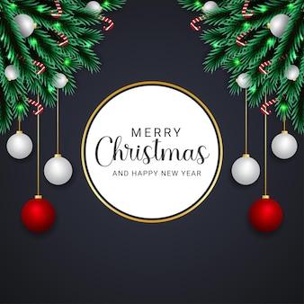 검은 배경으로 현실적인 메리 크리스마스 흰색과 빨간색 공 사탕 크리스마스 조명