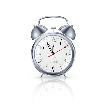 Realistic metal alarm clock on white background. vector