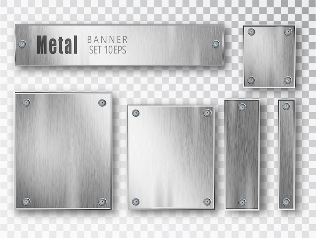 Realistic metal banner composition