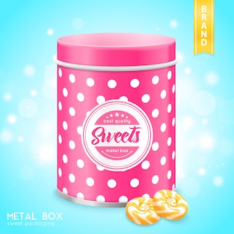 Realistic metal box for sweets