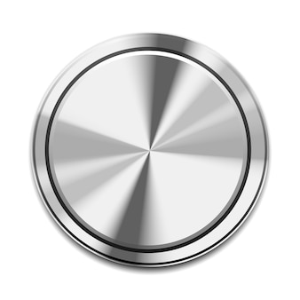 Realistic metal button icon isolated on white