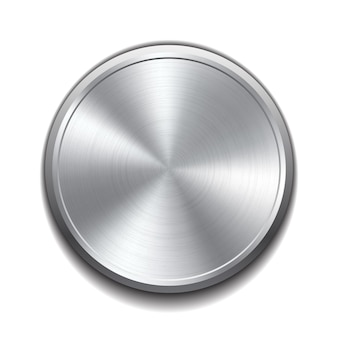 Realistic metal button with circular processing.  illustration