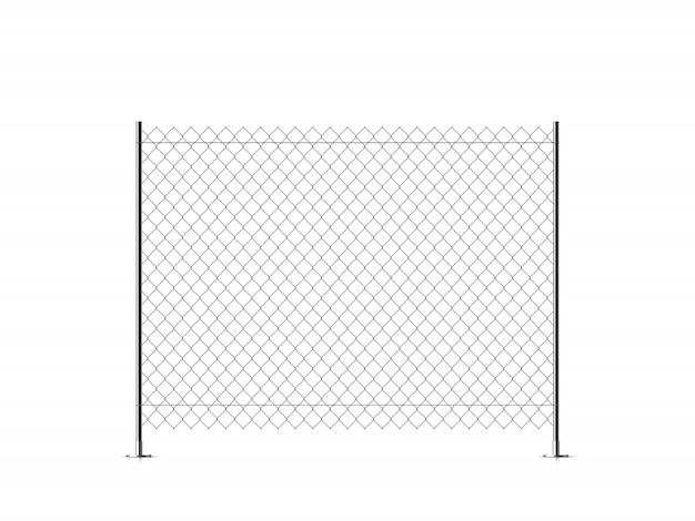 Realistic metal chain link fence.