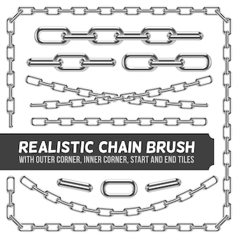 Realistic metal chain set, silver chains. industrial link and metallic strength line illustra