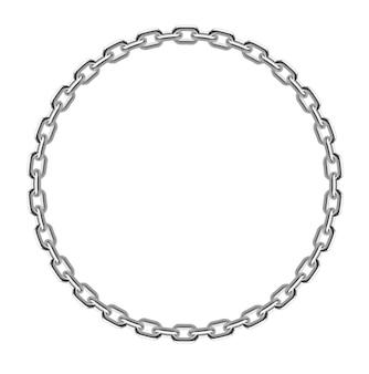 Realistic metal circle frame chain texture premium