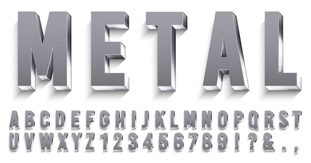 Realistic metal font. shiny metallic letters with shadows, chrome text and metals alphabet   set