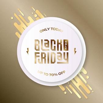 Banner di offerta speciale di vendita venerdì nero realistico in metallo oro goffrato con argento colorato e oro per la promozione sui social media