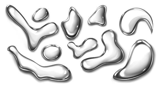 Collezione realistica di gocce liquide in metallo