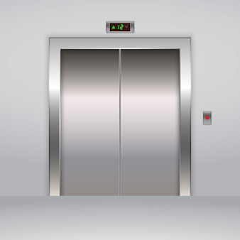 Realistic metal office elevator lift doors.