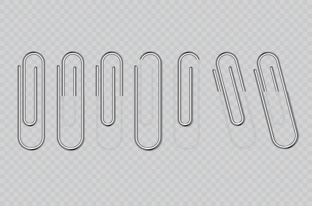Realistic metal paper clips isolated on transparent background. page holder, binder.