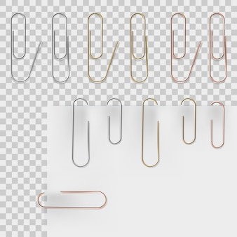 Realistic metal paper clips  set. vector set.  stationery paperclip accessory