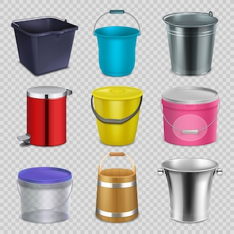 Realistic metal and plastic buckets with handle and bowls.